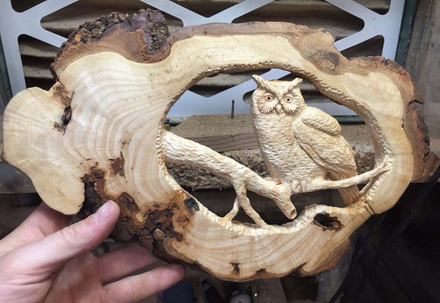 Owl wood carving hand carved wall art sculpture