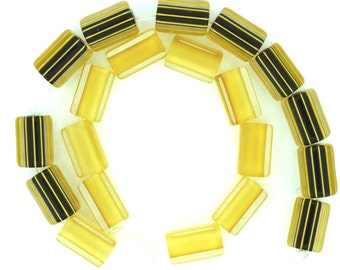 Furnace Glass Cane Bead Matched Set, 20  Black and Amber, round and square, striped and plain, Medium size by Virginia Wilson Toccalino