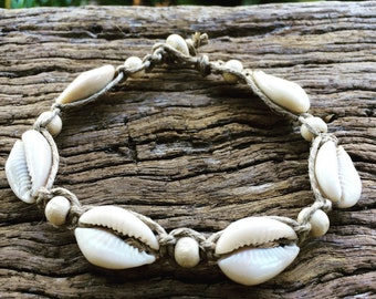 Hand Made Hemp Shell Anklet with Cowrie Shells & Timber Beads, Sea Gypsy Bohemian
