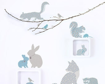 Woodland Animal Fabric Wall Stickers in Blue and Grey