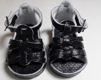 "Black Basketweave Sandals-- for 18"" Dolls--Shown on my American Girl Doll"