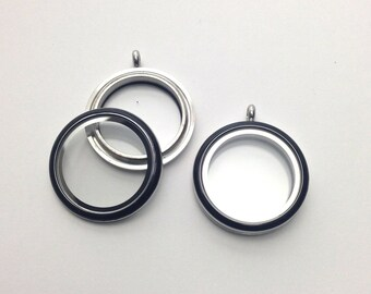 1 memory locket stainless steel and glass with black enamel 30mm #MINCH 059