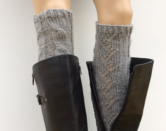 Wool Blend Soft Knitted LegWarmers, Leg warmers,Women boot cuffs, leg warmers in Grey Mix color or Select Color