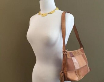 FOSSIL Patchwork Leather Hobo Handbag