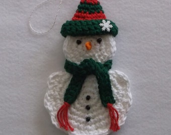 Crochet Snowman Ornament and Gift Card Holder with Red and Green Hat