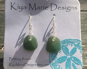 Sea glass earrings, olive green sea glass earrings, Californian sea glass, ocean earrings, simple silver earrings