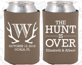 Deer Antler Monogram (C42) Fun Wedding Gifts, The Hunt is Over Wedding Favors, Antler Wedding Favors, Drink Cooler