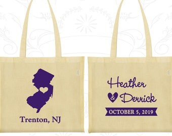 New Jersey Wedding, New Jersey Tote Bags, Wedding Favor Welcome Bags, Destination Wedding Bags, State Tote Bags, Personalized Tote (129)