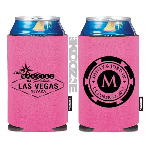 Custom KOOZIE ® - Las Vegas Sign - Poker Chip - Las Vegas Wedding - Personalized Wedding KOOZIE ®, Beer KOOZIE ®, Wedding Favors (54)