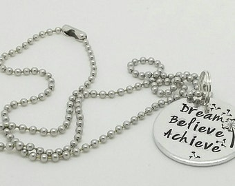 "Stunning necklace ""dream , believe, achieve"" great for bridesmaids/ flower girls"
