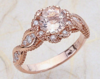 14K Vintage Rose Gold Engagement Ring, Round Morganite Rose Gold, Engagement Ring Morganite Halo Rose Gold, Rose Gold Engagement Ring Halo