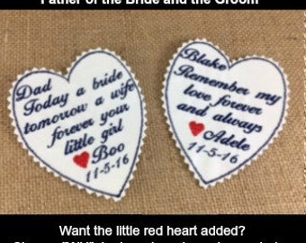 Wedding Tie Patches - GROOM and FATHER of the Bride Gift Set - Personalized Tie Patches, Sew On Tie Patches, Iron On Tie Patches
