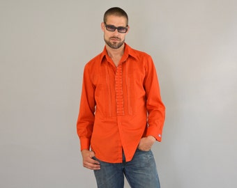 Red dress shirt mens 70s fashion