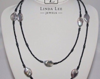 Fashionable grey pearl long necklace