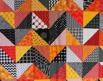 """Modern Baby Quilt; """"Olivia""""; Contemporary; Geometric; Triangles; Yellow, Red, Orange;Baby Quilt; Lap Quilt, Play Mat; Wall Hanging"""