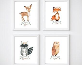 Woodland Nursery Prints, Girl, Whimsical baby room prints 8x10 READY TO SHIP