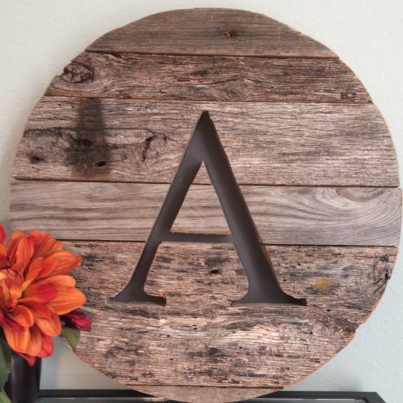 16 round sale priced letter a reclaimed wood sign Reclaimed wood wall art for sale