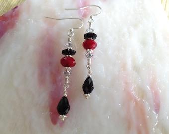Black and Burgundy Swarovski Crystal Earrings (E6)