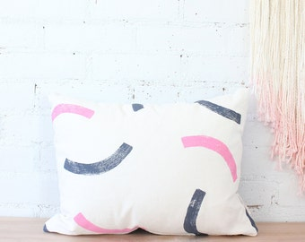 pink dusky lavender purple block printed hemp pillow cover - SAMPLE SALE