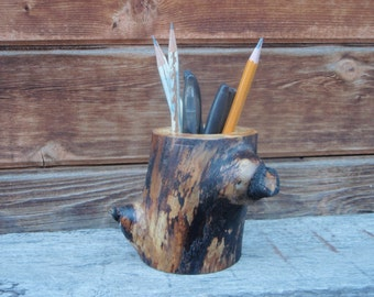 rustic pen and pencil holder