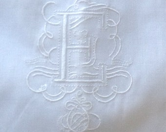 "Embroidered ""E"" Monogram Guest Towel in white  with  Gallucci Border/ free shipping in US"