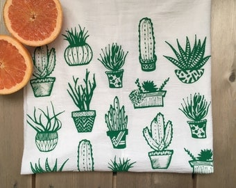 Succulents Silkscreened Tea Towel Cotton Flour Sack - Art Kitchen - 28x29 inches