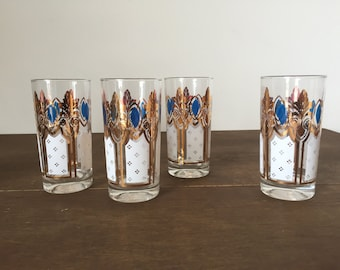 SOLD! Mid Century Glass Tumblers, Set of 4, Blue, Gold, White