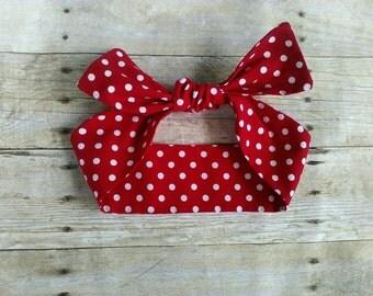 Red polka dot headband bandana knot hair tie Rosie the riveter retro rockabilly bow style made by FlyBowZ