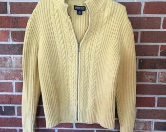 Land's End Yellow Zipper Sweater Cardigan size M