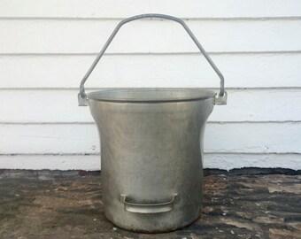 unusual milk bucket ~ milk pail ~ unique metal bucket ~ farm bucket ~ rustic bucket ~ farmhouse antique