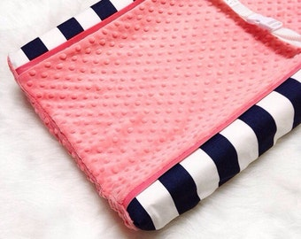 Navy stripe, coral minky dot changing pad cover