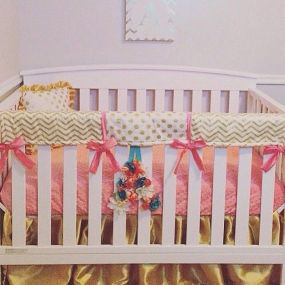 Marion S Coral And Gold Polka Dot Nursery: Coral Gold Bumperless Bedding Coral Minky Dot Sheet
