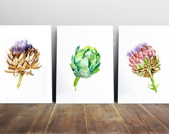 Artichoke Watercolor Painting -  artichoke Art - food Art kitchen art Print - Artichoke poster - illustration artichoke