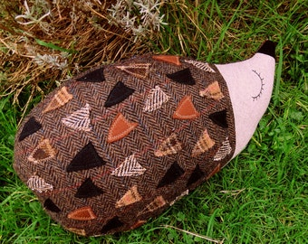 Hector, a tactile tweed hedgehog cushion.  Hedgehog pillow. 47cm in length.  (18.5 inches)