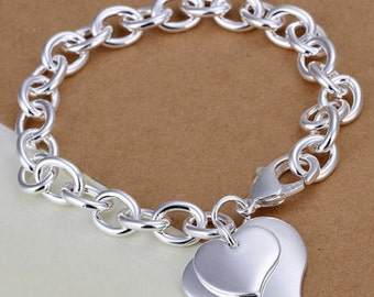 Engraved Double Heart Bracelet - ON SALE NOW
