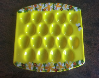 Deviled eggs fused glass plate