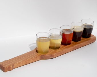 Custom Beer Flight - Beer Paddle 5 glass holder