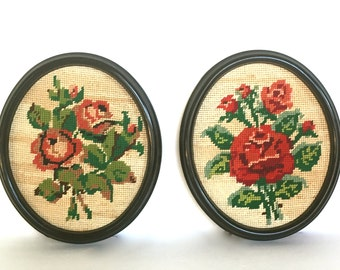 Vintage Pair of Needlepoint Pictures, Red Roses in Black Oval Frames
