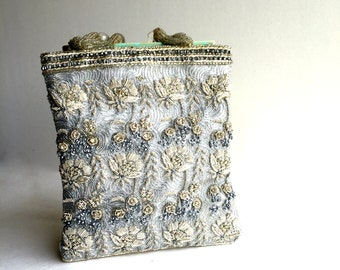 Vintage Silver Embroided and Beaded Evening Bag, Silver Handbag