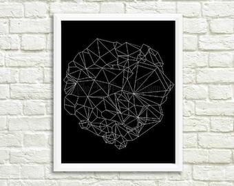Geometric Geode Printable // Black & White Geometric Print // Geode Art // Minimalist Geometric Printable // Modern Geometric Art //