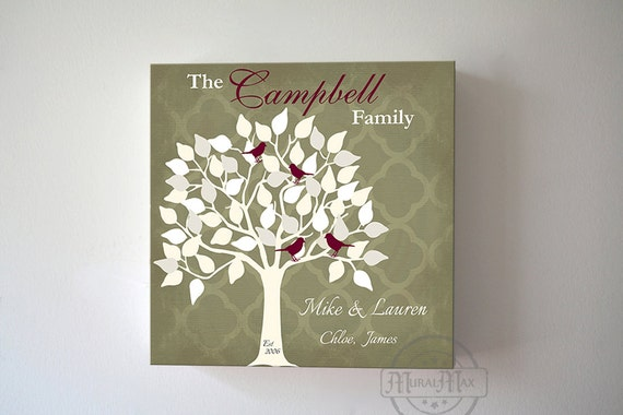 Wedding Gift Canvas Painting : Custom Family Tree Canvas Art, Wedding Anniversary Gift , Personalized ...