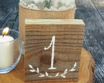 Rustic Wedding Wood Table Numbers Hand Painted