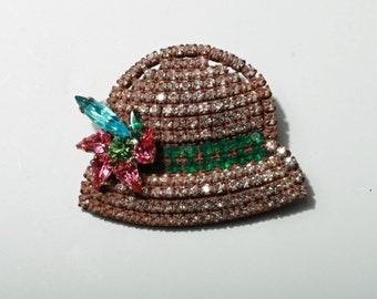 Czech Bohemian figural hand made glass rhinestone jeweled hat costume jewelry pin brooch 500-31