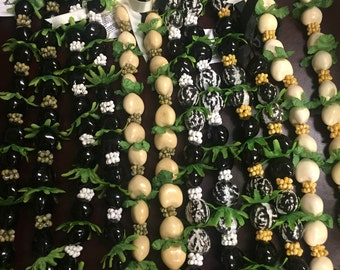 Kukui Nut With Shell and Green silk Combination LEI