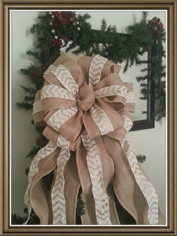 Burlap and Chevron tree topper