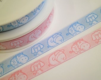 "1 m Woven Ribbon ""Dog Cow Sheep"" 16 mm w. pink blue"