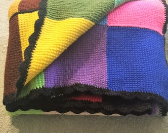 Boho Loft Color Block Handmade Crocheted Blanket Afghan