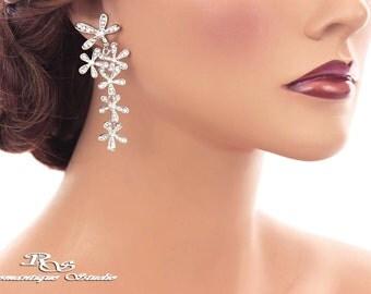 Crystal chandelier bridal earrings bridal jewelry wedding jewelry flower cascade wedding earrings bridesmaid earrings jewelry 1206