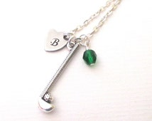 Initial necklace - Personalised golf club necklace - Birthstone necklace - Golf club charm necklace  - Gift for golfer - UK seller