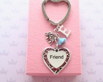 Personalised friend keyring - Friend Birthday - Little elephant keychain - Initial keyring - Gift for friend - Elephant keyring - Etsy UK